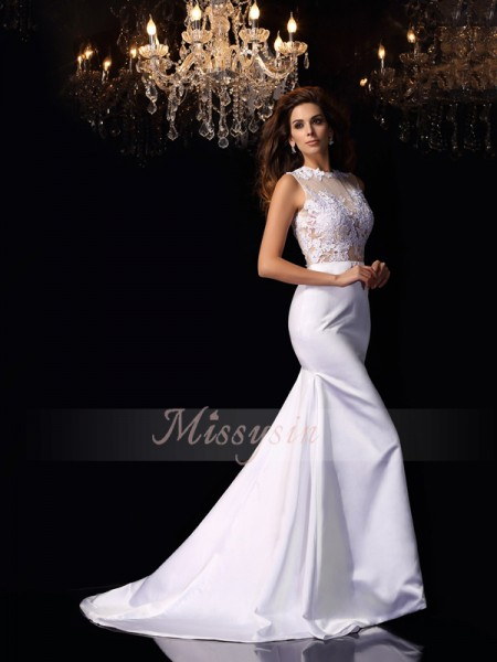 Trumpet/Mermaid Sleeveless High Neck Applique Chapel Train Satin Wedding Dresses