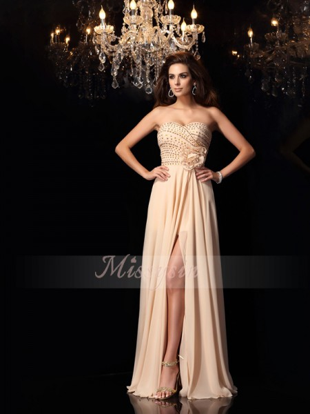 A-Line/Princess Sleeveless Sweetheart Hand-Made Flower Floor-Length Chiffon Dresses
