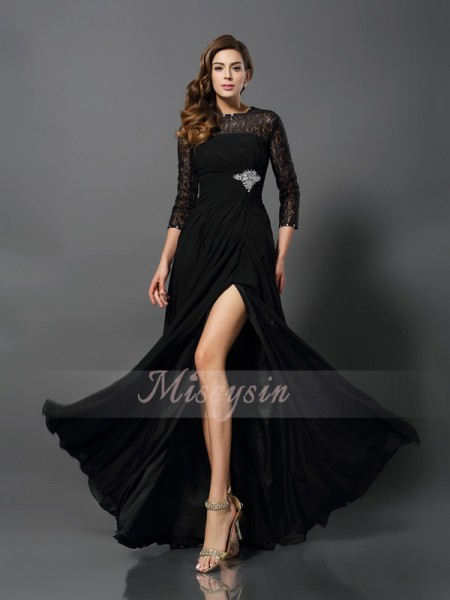 A-Line/Princess 3/4 Sleeves Bateau Floor-Length Lace Dresses