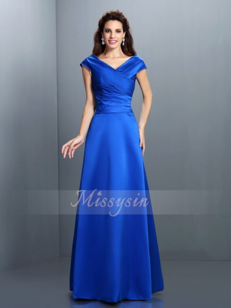 A-Line/Princess Sleeveless V-neck Floor-Length Satin Dresses