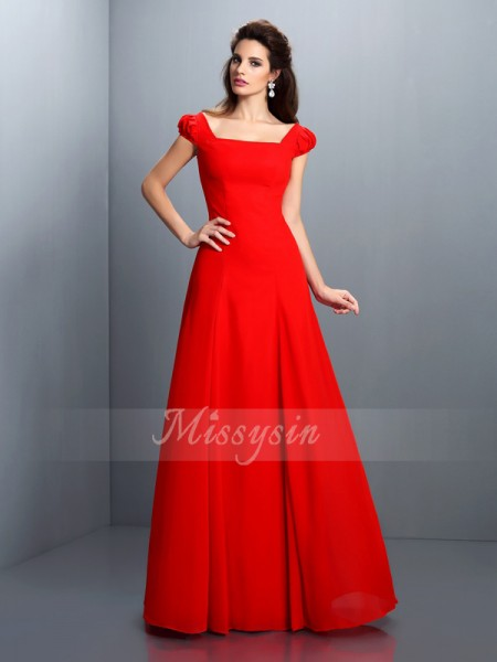 A-Line/Princess Short Sleeves Bateau Floor-Length Satin Dresses