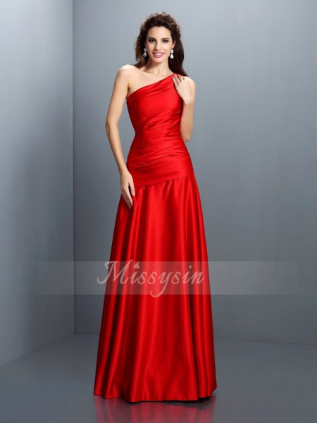A-Line/Princess Sleeveless One-Shoulder Pleats Floor-Length Satin Dresses