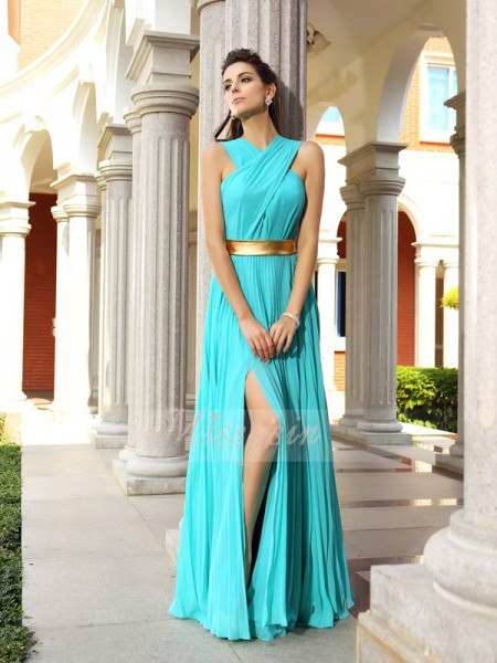 A-Line/Princess Sleeveless Pleats Floor-Length Chiffon Dresses