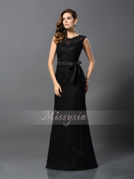 Sheath/Column Sleeveless Scoop Floor-Length Satin Dresses