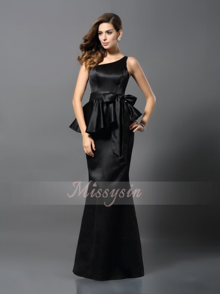 Trumpet/Mermaid Sleeveless One-Shoulder Bowknot Floor-Length Satin Dresses