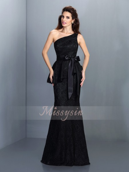 Trumpet/Mermaid Sleeveless One-Shoulder Floor-Length Satin Bridesmaid Dresses
