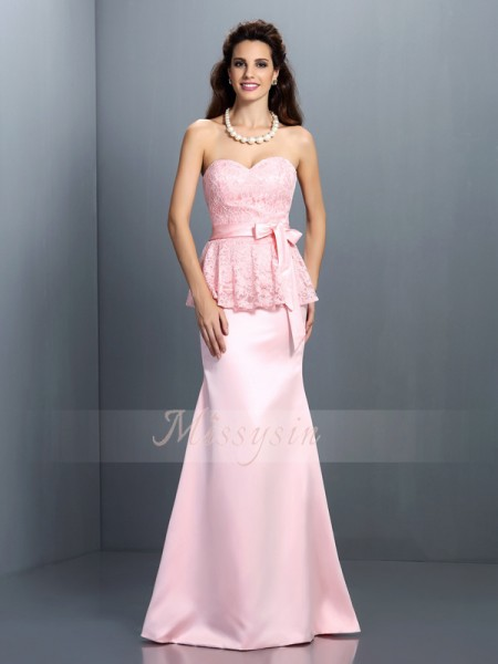 Trumpet/Mermaid Sleeveless Sweetheart Floor-Length Satin Bridesmaid Dresses