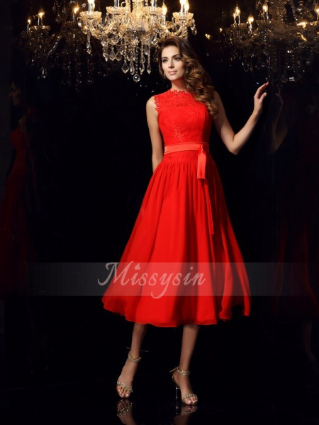 A-Line/Princess Sleeveless High Neck Sash/Ribbon/Belt Tea-Length Chiffon Dresses