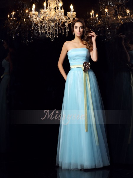 Ball Gown Sleeveless Strapless Sash/Ribbon/Belt Floor-Length Satin Dresses