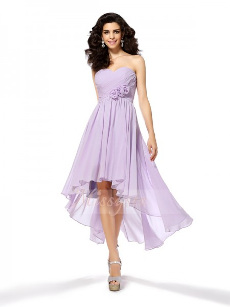 A-Line/Princess Sleeveless Sweetheart Hand-Made Flower Asymmetrical Chiffon Dresses