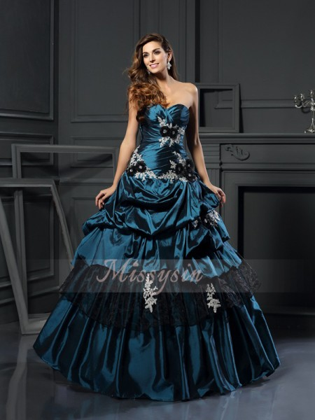 Ball Gown Sleeveless Sweetheart Beading,Applique Floor-Length Taffeta Dresses