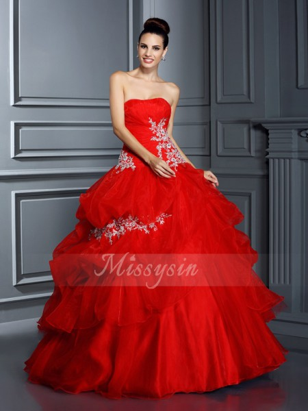 Ball Gown Sleeveless Strapless Applique Floor-Length Organza Dresses