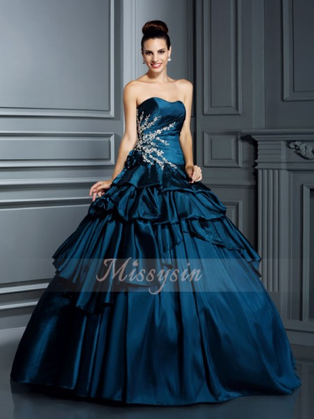 Ball Gown Sleeveless Strapless Beading Floor-Length Taffeta Dresses