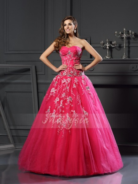 Ball Gown Sleeveless Sweetheart Applique Floor-Length Net Dresses