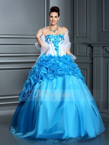 Ball Gown Sleeveless Sweetheart Ruffles Floor-Length Satin Dresses