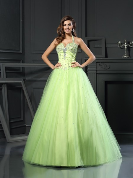Ball Gown Sleeveless Halter Beading Floor-Length Satin Dresses