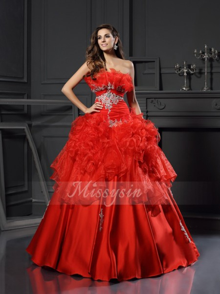 Ball Gown Sleeveless Strapless Ruffles Floor-Length Organza Dresses
