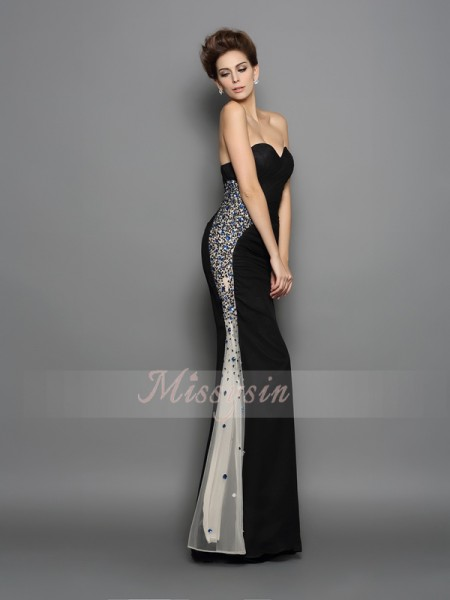 Trumpet/Mermaid Sleeveless Sweetheart Ruched Floor-Length Chiffon Dresses