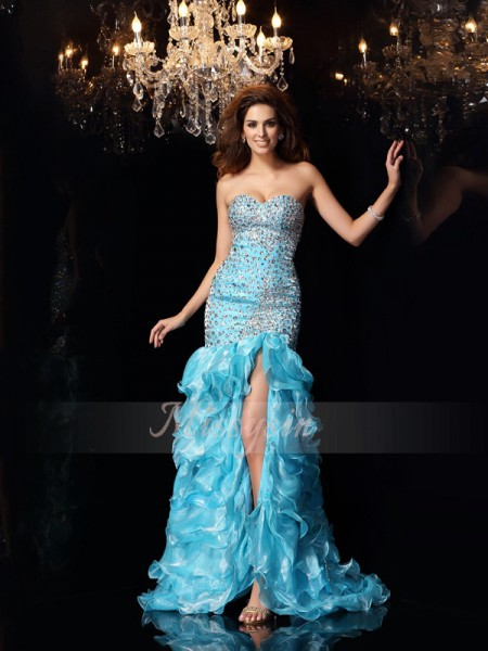 Trumpet/Mermaid Sleeveless Sweetheart Beading Asymmetrical Organza Dresses