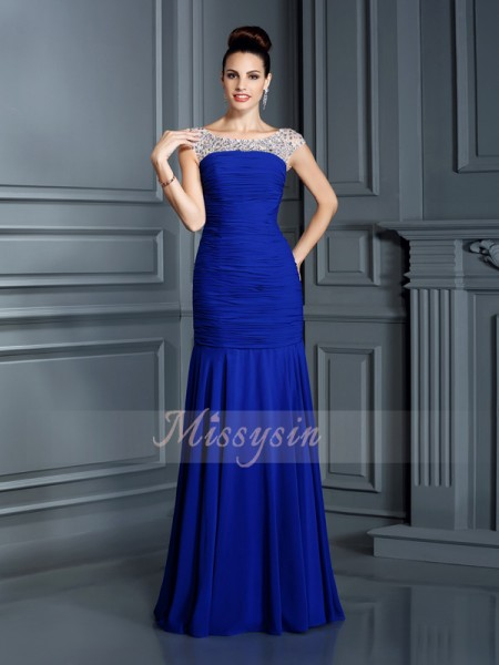 Trumpet/Mermaid Sleeveless Scoop Beading Floor-Length Chiffon Dresses