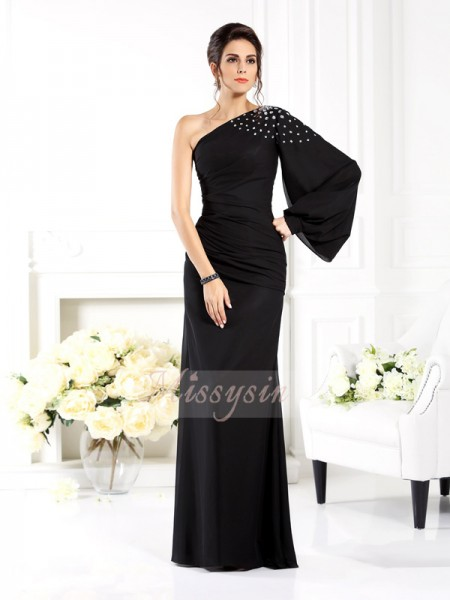 Sheath/Column Long Sleeves One-Shoulder Beading Floor-Length Chiffon Dresses