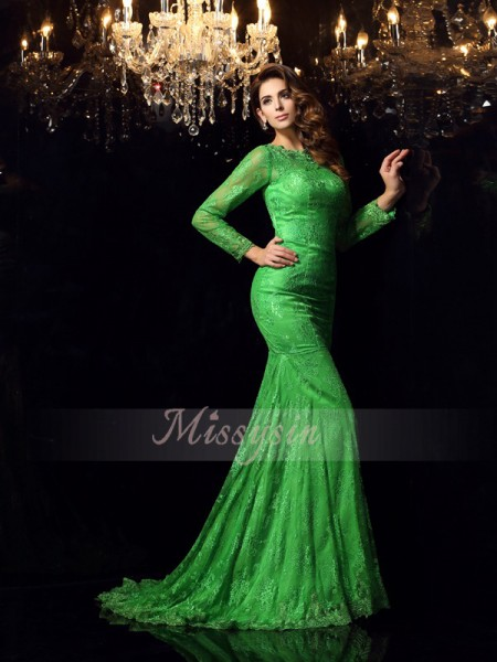Trumpet/Mermaid Sleeveless High Neck Applique Court Train Elastic Woven Satin Dresses