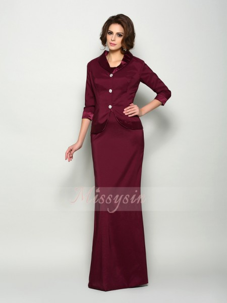 A-Line/Princess Sleeveless Square Floor-Length Elastic Woven Satin Mother Of The Bride Dresses