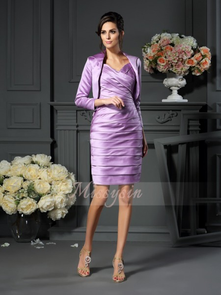 Sheath/Column Sleeveless Straps Ruched Knee-Length Satin Mother Of The Bride Dresses