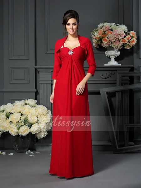 A-Line/Princess Sleeveless Spaghetti Straps Beading Floor-Length Chiffon Mother Of The Bride Dresses