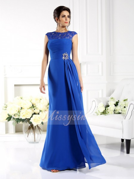 A-Line/Princess Sleeveless Bateau Applique Floor-Length Chiffon Dresses