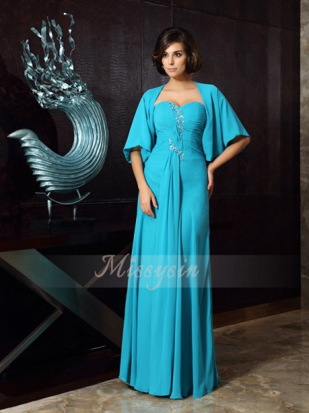Sheath/Column Sleeveless Sweetheart Beading Floor-Length Chiffon Mother Of The Bride Dresses