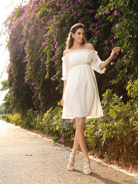 A-Line/Princess 1/2 Sleeves Chiffon Off-the-Shoulder Beading Knee-Length Wedding Dresses