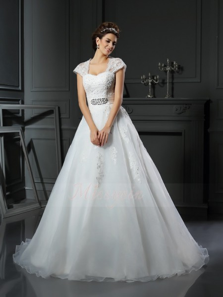 Ball Gown Sleeveless Organza Square Beading,Applique Chapel Train Wedding Dresses