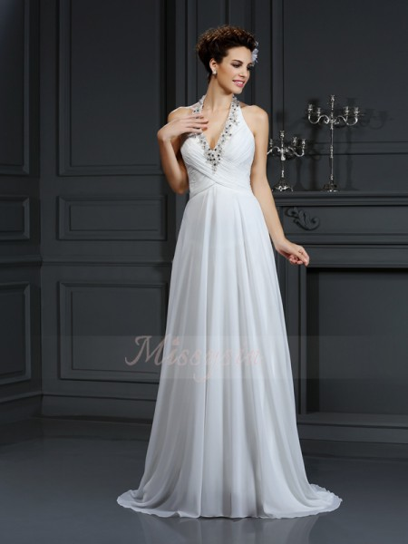 A-Line/Princess Sleeveless Chiffon Halter Beading Court Train Wedding Dresses