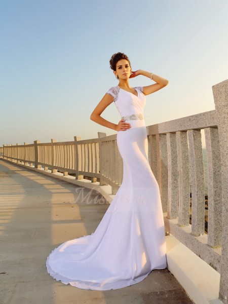 Sheath/Column Sleeveless Chiffon V-neck Beading Court Train Wedding Dresses