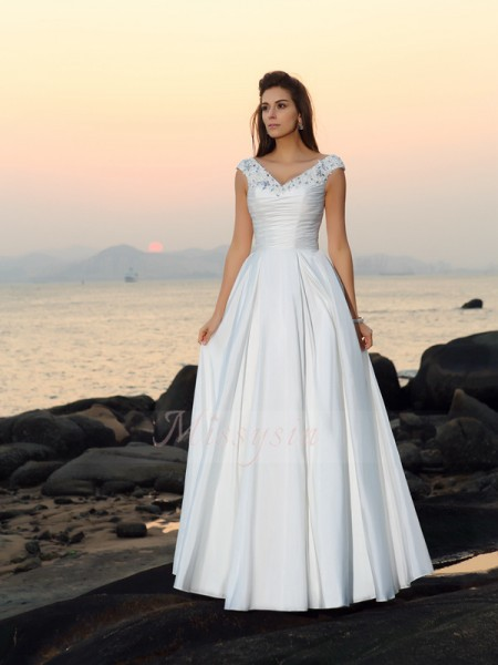 A-Line/Princess Sleeveless Taffeta V-neck Beading,Applique Floor-Length Wedding Dresses