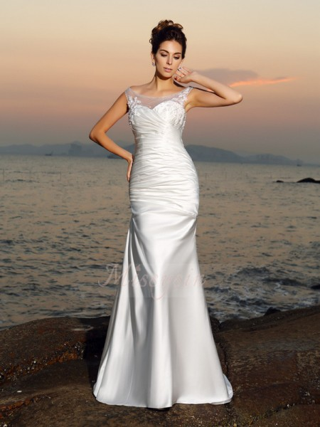 Trumpet/Mermaid Sleeveless Satin Scoop Beading,Applique Sweep/Brush Train Wedding Dresses