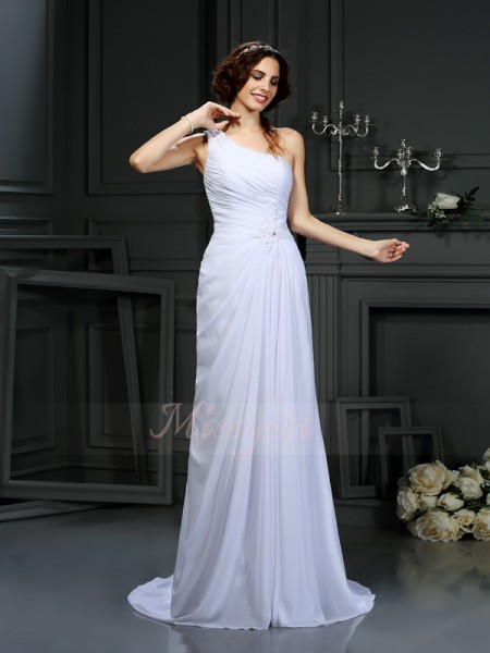 A-Line/Princess Sleeveless Chiffon One-Shoulder Pleats Court Train Wedding Dresses