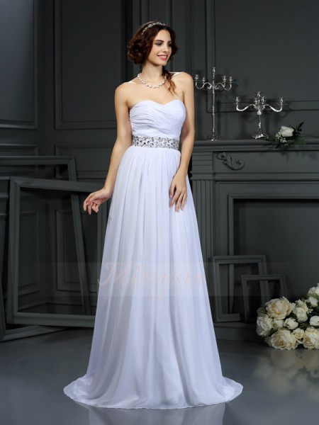A-Line/Princess Sleeveless Chiffon Sweetheart Beading Court Train Wedding Dresses
