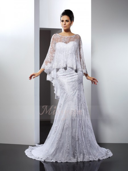 Trumpet/Mermaid Sleeveless Lace Sweetheart Applique Court Train Wedding Dresses