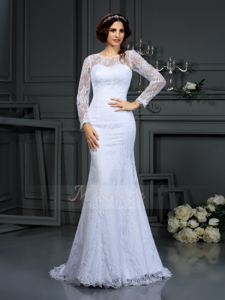 Sheath/Column Long Sleeves Satin Scoop Lace Court Train Wedding Dresses