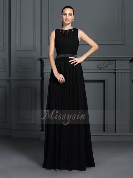 A-Line/Princess Sleeveless Chiffon Scoop Pleats Floor-Length Dresses
