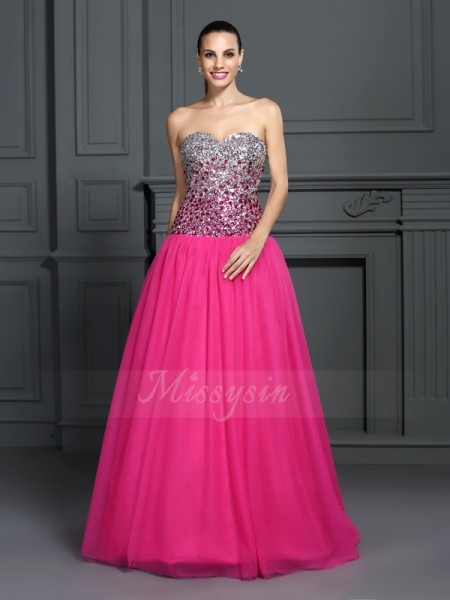 Ball Gown Sleeveless Organza Sweetheart Floor-Length Dresses