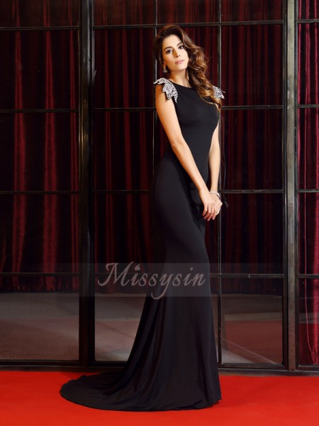 Trumpet/Mermaid Sleeveless Spandex Bateau Ruffles Court Train Dresses