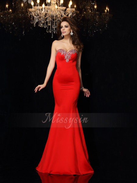 Sheath/Column Sleeveless Satin Sweetheart Beading Court Train Dresses