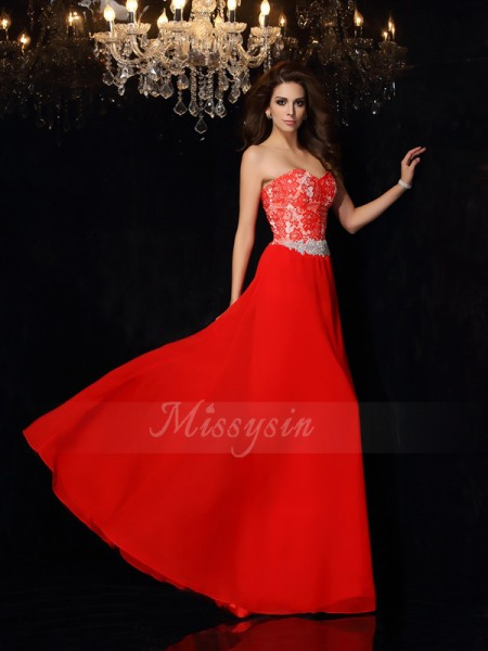 A-Line/Princess Sleeveless Chiffon Sweetheart Lace Floor-Length Dresses