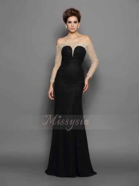 Trumpet/Mermaid Long Sleeves Chiffon Off-the-Shoulder Beading Sweep/Brush Train Dresses