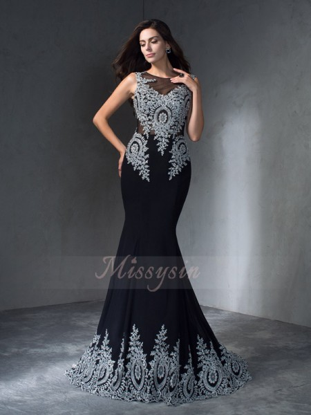 Trumpet/Mermaid Sleeveless Scoop Applique Sweep/Brush Train Chiffon Dresses