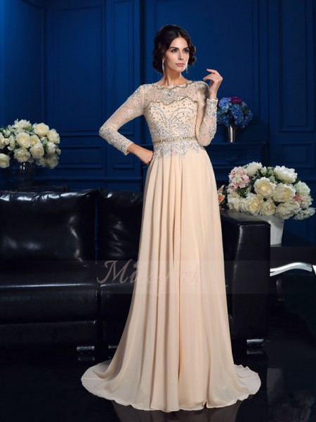 A-Line/Princess Long Sleeves Scoop Beading Sweep/Brush Train Chiffon Mother of the Bride Dresses