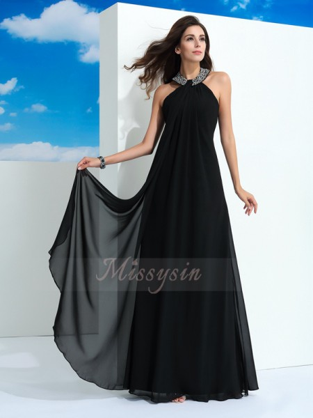 A-Line/Princess Sleeveless Halter Beading Floor-Length Chiffon Dresses